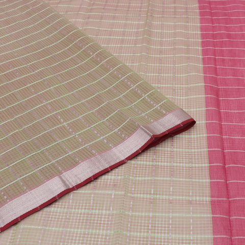 magalgiri Handloom mangalgiri cotton green and pink checks Saree