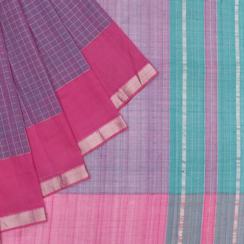 magalgiri Handloom mangalgiri silk pink and blue checks Saree