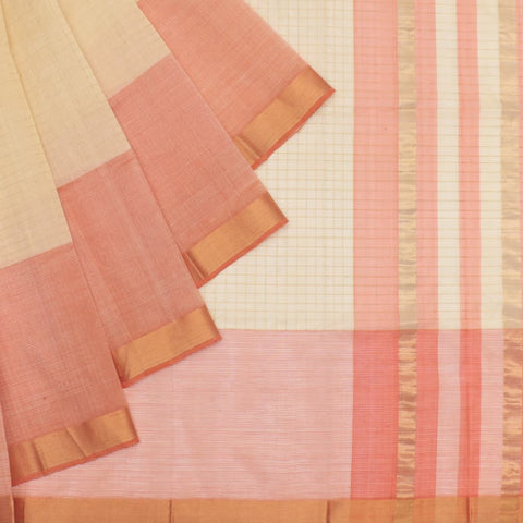 magalgiri Handloom mangalgiri silk cream checks Saree