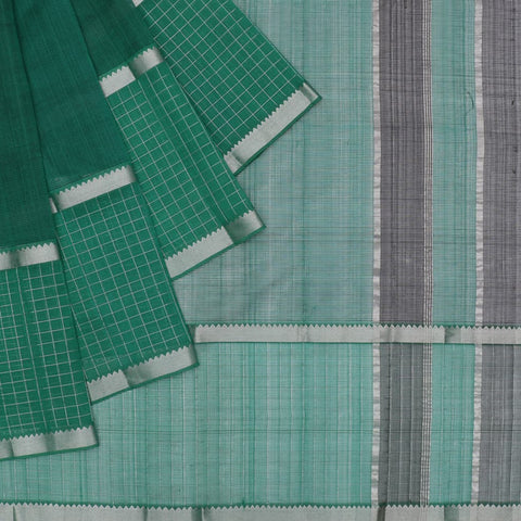 magalgiri Handloom mangalgiri silk green checks Saree