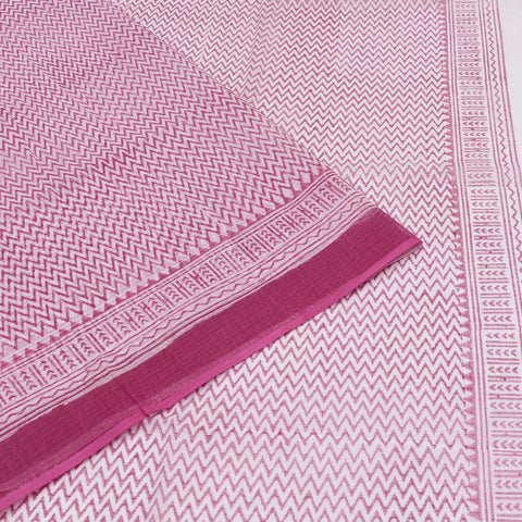Handloom kota cotton white and bright pink printed Saree