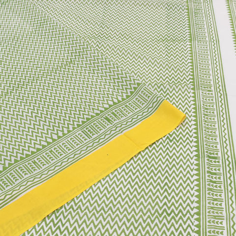 Handloom mul cotton white green zig zag stripes Saree