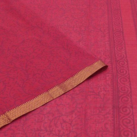 magalgiri Handloom cotton red printed Saree