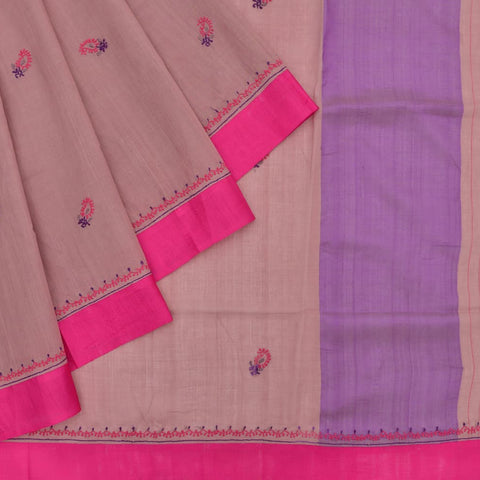 Handloom cotton brown Lucknowi embroidery Saree