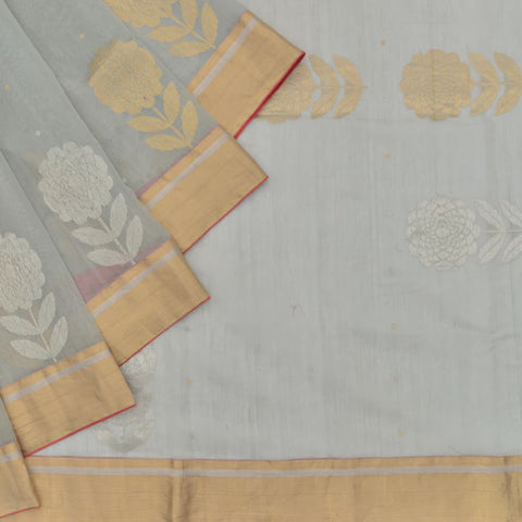 chanderi Handloom silk cotton grey floral embridery Saree