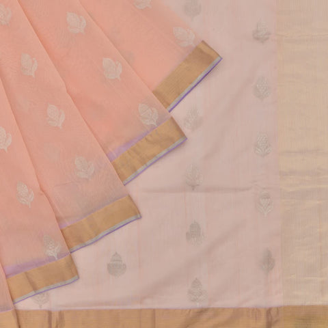 chanderi Handloom silk cotton peach zari butti Saree