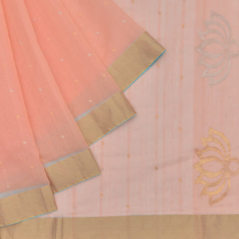 chanderi Handloom silk cotton peach floral butta Saree