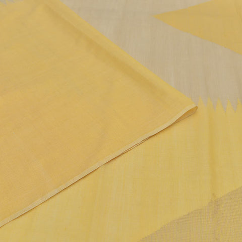 Handloom silk yellow half and half Saree