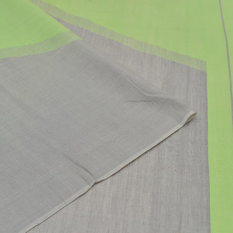 Handloom silk green and grey  3D design Saree