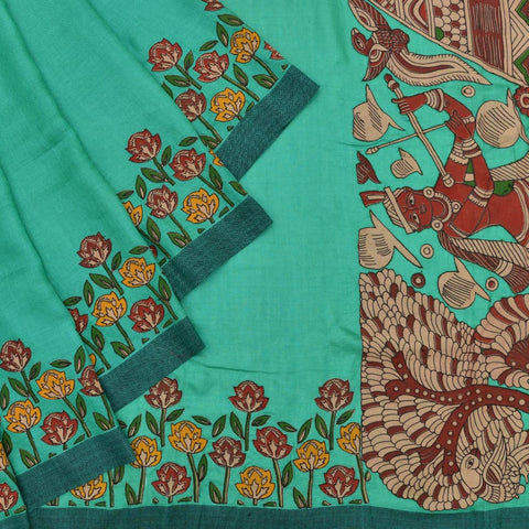 Handloom cotton green kalamkari appliqué Saree