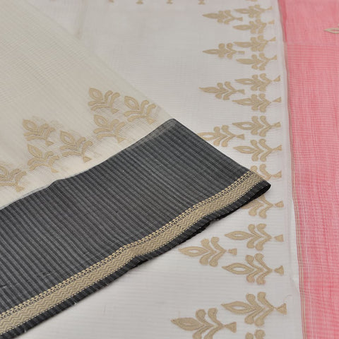 Handloom silk white appliqué work Saree