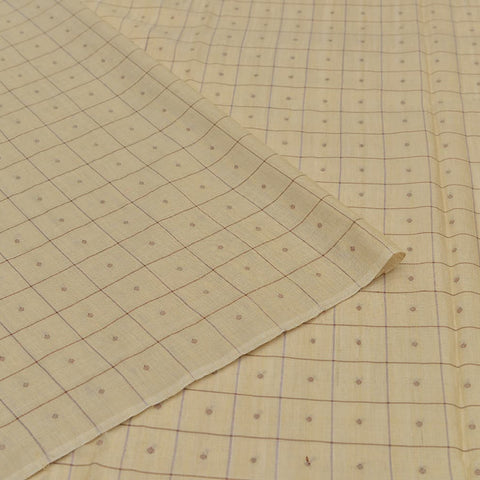 Handloom tussar beige checks Saree