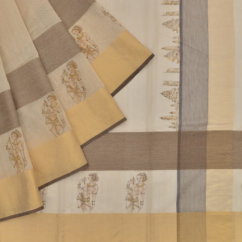 Handloom silk cream plain Saree