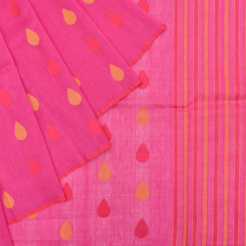 Handloom linen beight pink drop motif Saree