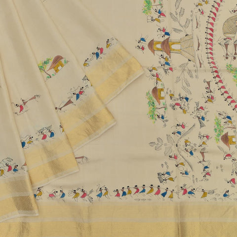 Handloom tussar cream Trible art Saree