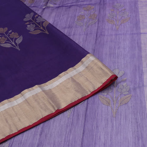 Handloom cotton silk purple zari floral butta Saree