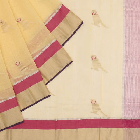 Handloom cotton silk yellow parrot butta Saree