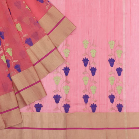 Handloom cotton silk tomato pink half floral butta Saree