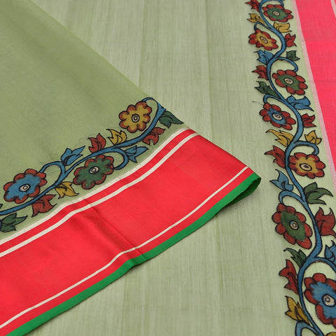 Handloom chanderi green kalamkari appliqué saree Saree