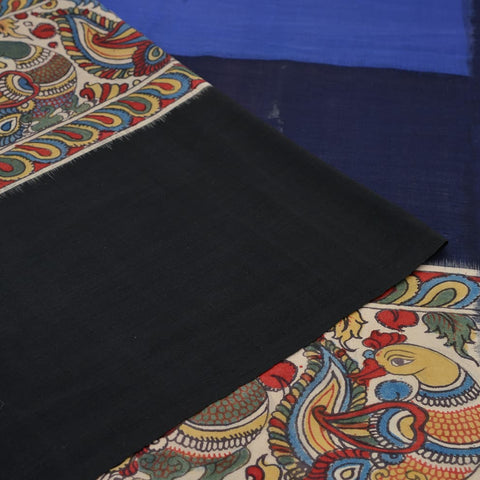 Handloom cotton black and blue  Saree
