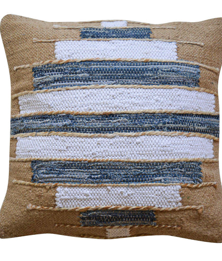 Multicolor Jute And Cotton Hand Crafted Cushion Cover (50cm x 50cm)