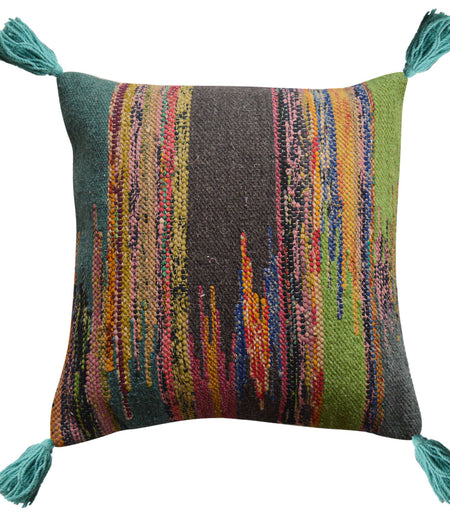 Multi Strips Wool Hand Crafted Cushion Cover (50cm x 50cm)