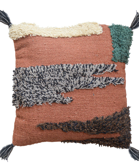 Rust With Multi Wool Hand Crafted Cushion Cover (50cm x 50cm)