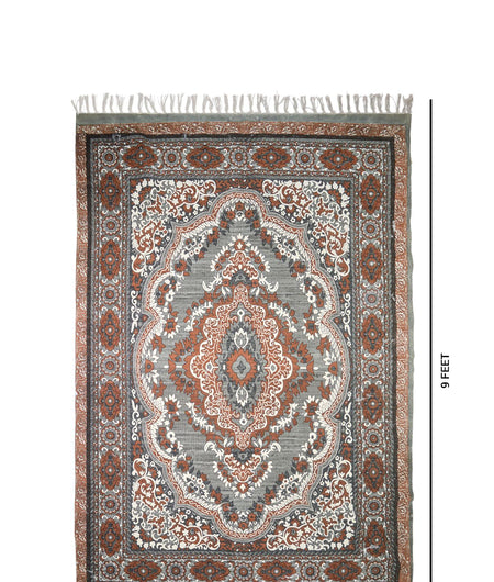 Handmade Printed Multi Traditional Cotton Carpet (6ft x 9ft)