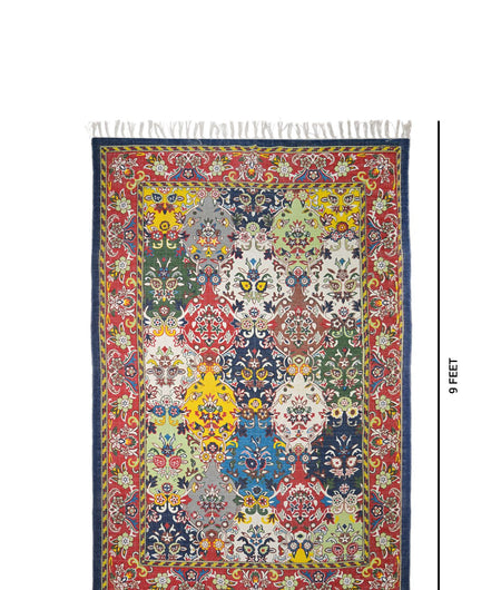 Handmade Printed Multi Floral Cotton Carpet (6ft x 9ft)