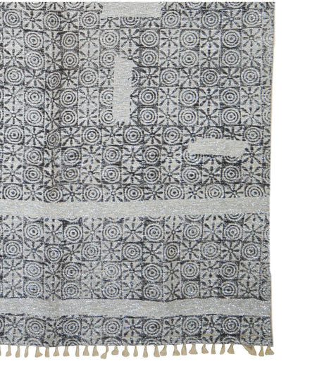 Handmade Printed Brown And Silver Shimmer Modern Cotton And Polyester Carpet (4ft x 6ft)