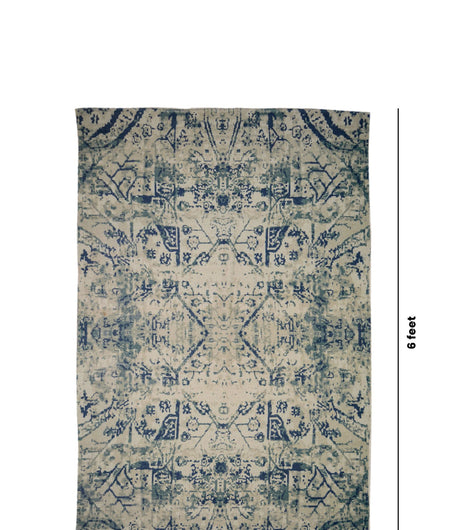 Handmade Printed Multi Contemporary Cotton Carpet (4ft x 6ft)