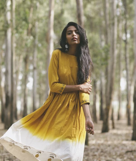 Mustard Mogra Embroidered Fit and Flare Dress