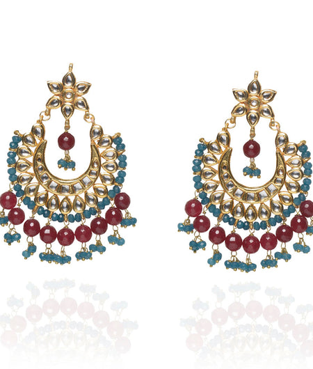 Aira Blue Onyx and Red Stone Chandbaali