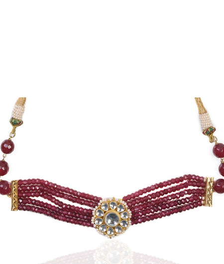 Aarohi Kundan and Red Onyx Choker Necklace