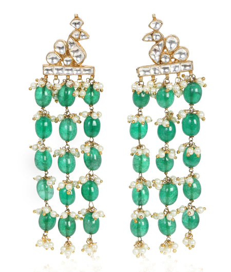 Crystal Kundan with emerald Lapis hangings
