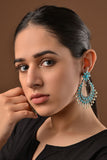 Turquoise Stones and Pearls German Silver Chandbaali