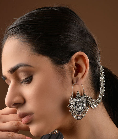German Silver Stone Work Afghani Chandbaali with Ear chain