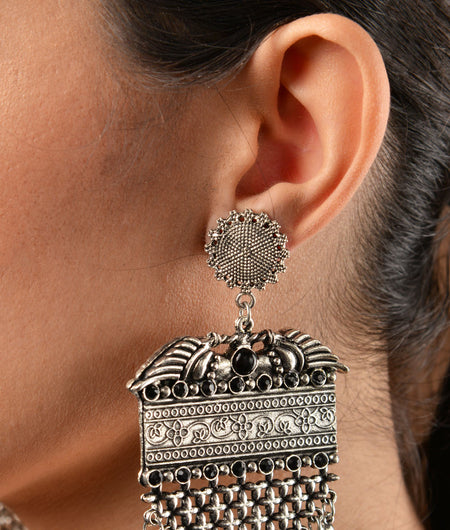 German Silver Statement Earrings