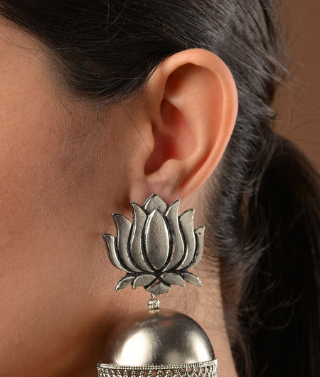 German Silver Lotus Jhumka