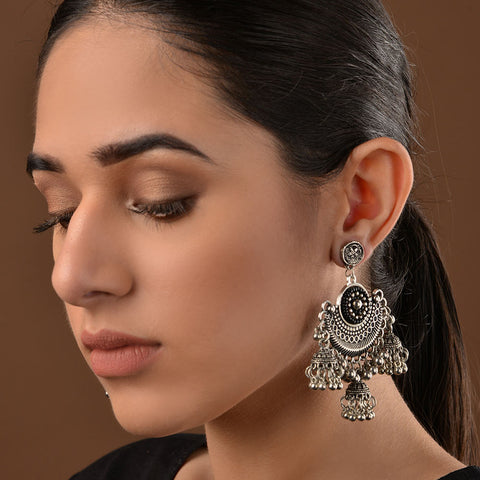 German Silver and Black Stones Styatement jhumki