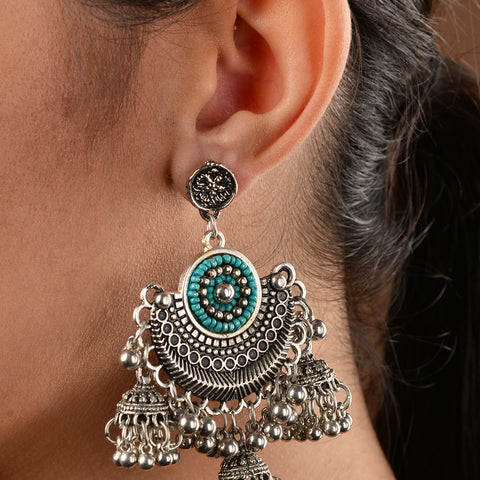 German Silver and Turquoise Stones Statement jhumki