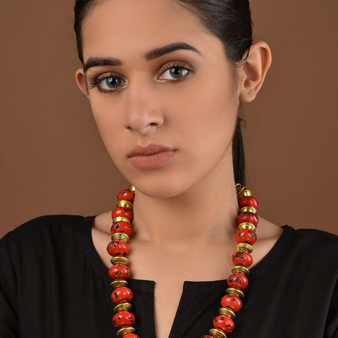 Coral Red and Gold Necklace