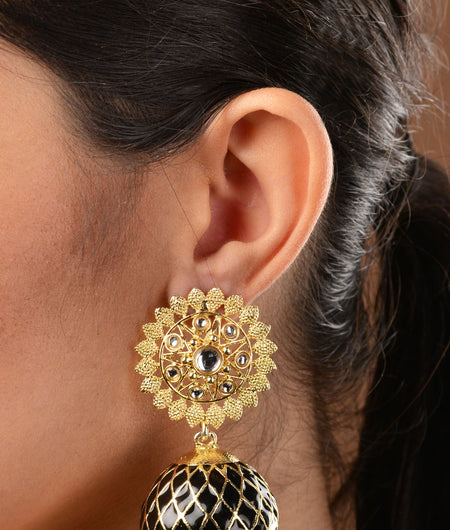 Black Meenakari and Kundan Gold Plated Jhumka