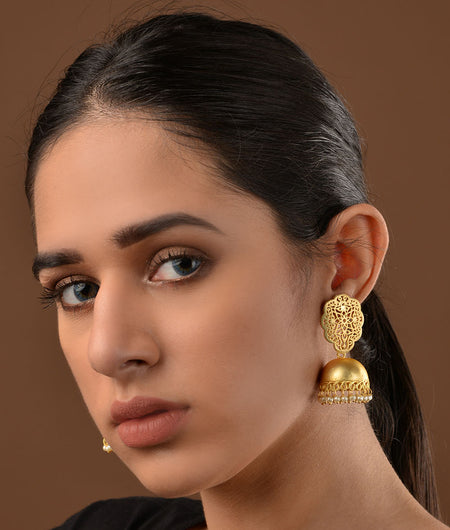 Gold Plated Filigree and Pearls Jhumka