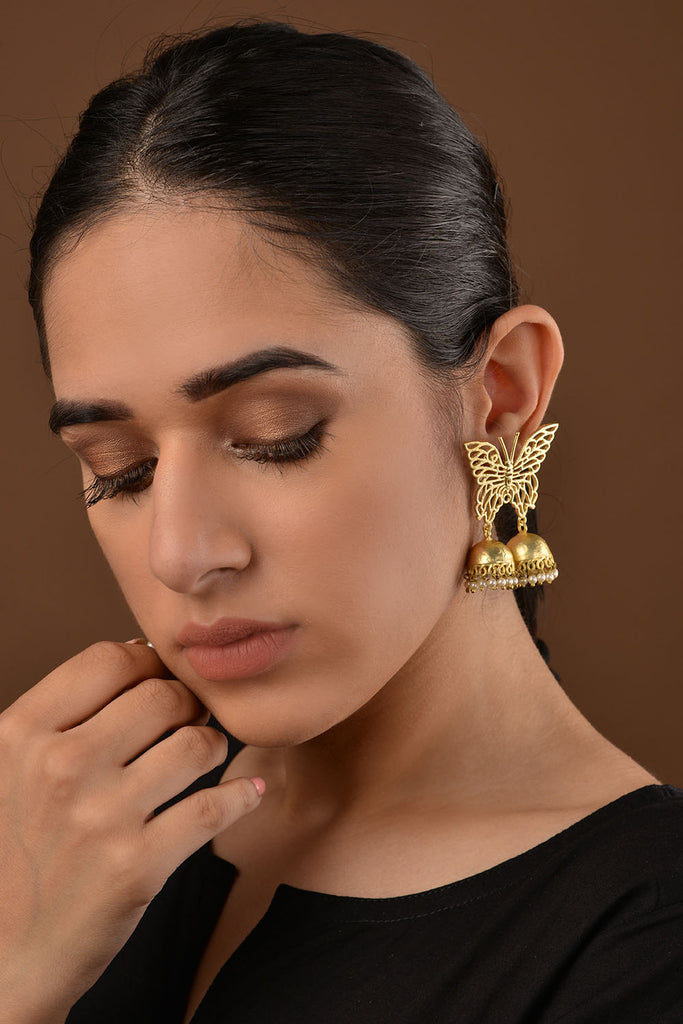 Gold Plated Butterfly Filigree Jhumki