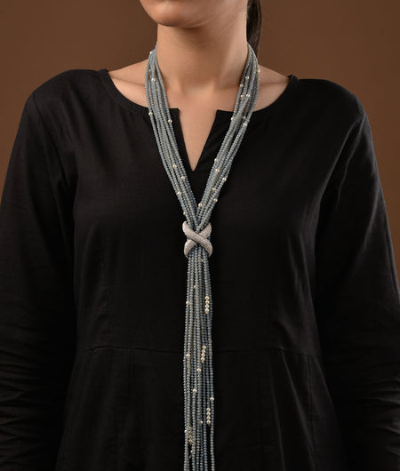 Grey Crystal and Pearl Tassels Adjustable Necklace
