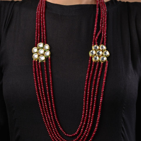 Kundan and Red Onyx Multilayered Necklace
