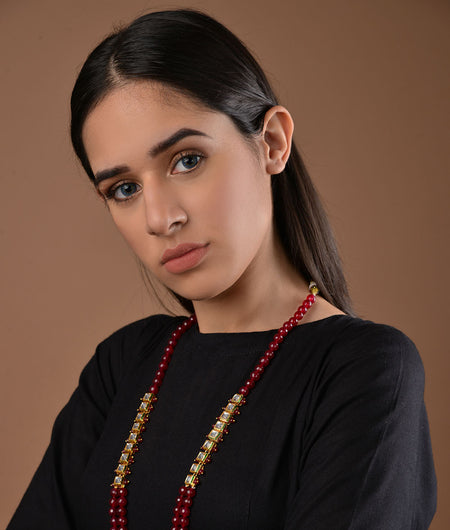 Kundan and Red Onyx Necklace