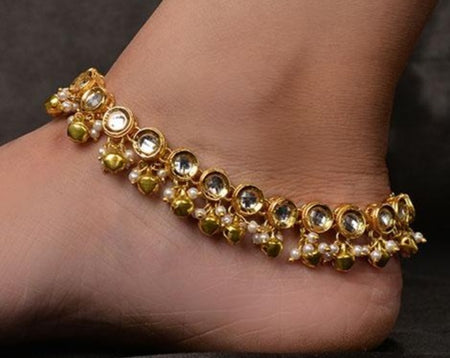 Kundan and Gold Beads Anklet