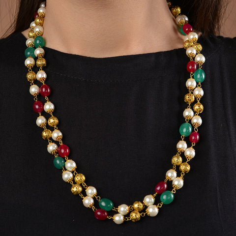 Gold Plated Red and Green Onyx Necklace with Shell Pearls